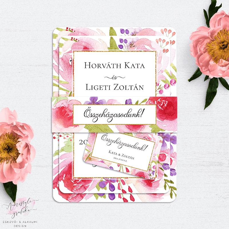Esküvői Meghívó Készlet Vízfestékes Virágokkal