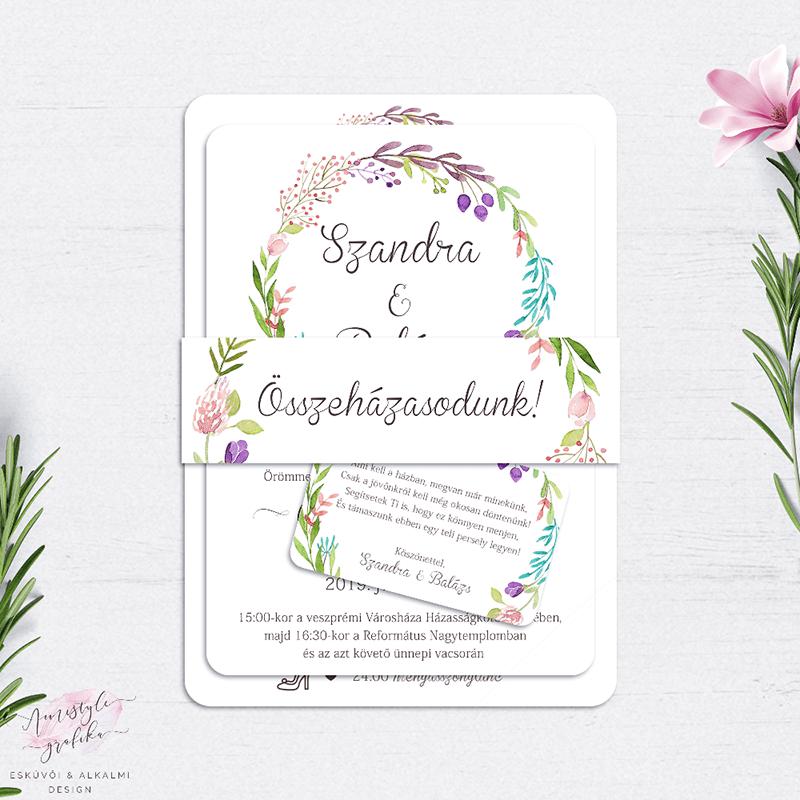 Esküvői Meghívó Készlet Kézzel Festett Virágkoszorús Motívummal