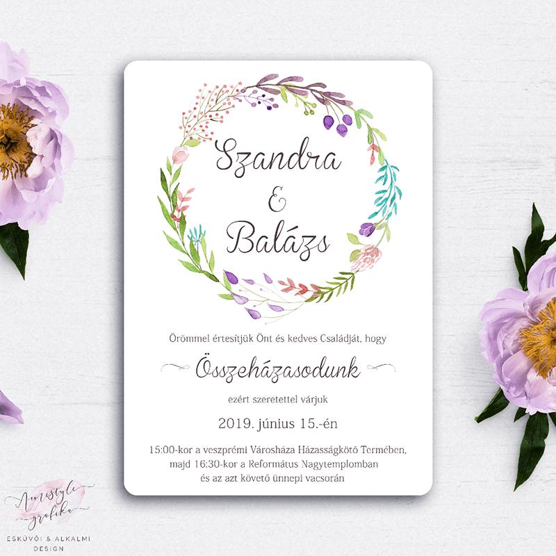 Esküvői Meghívó Akvarell Virágkoszorús Grafikával
