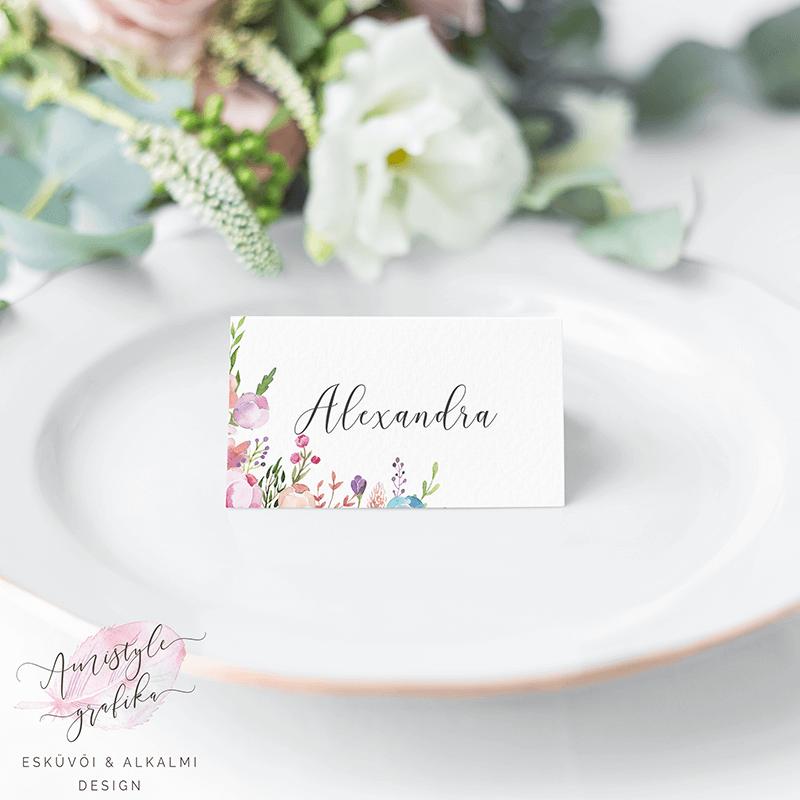 Virágos Esküvői Ültetőkártya Vintage Stílusban