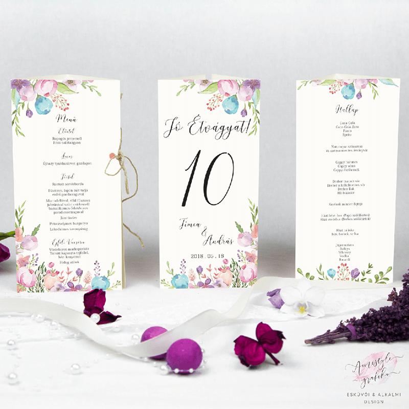 Virágos Esküvői Menü Háromszög