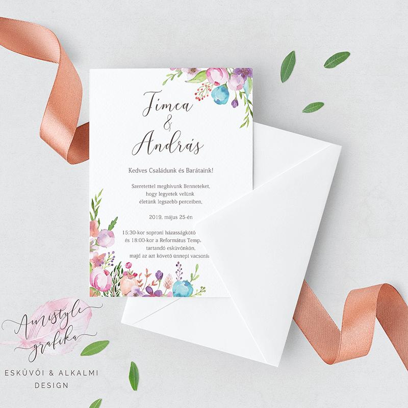 Akvarell virágos esküvői meghívó