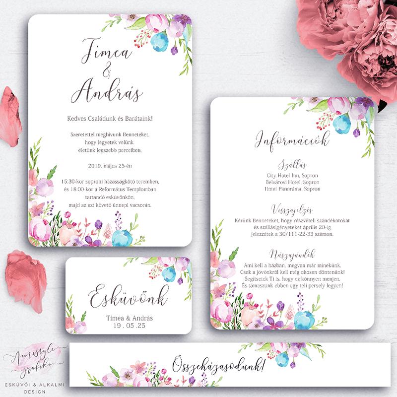 Esküvői meghívó készlet - Kézzel festett virágos