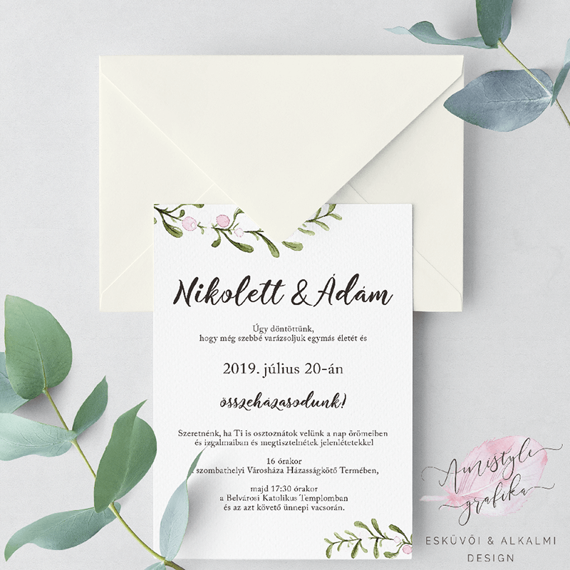 Greenery Esküvői Meghívó