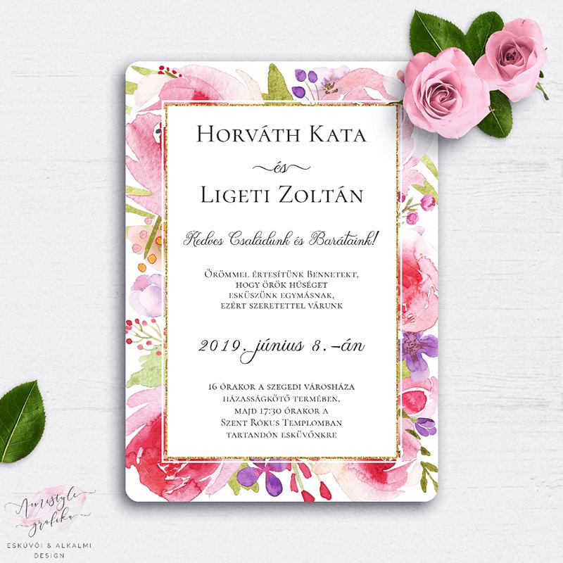Romantikus Virágos Esküvői Meghívó