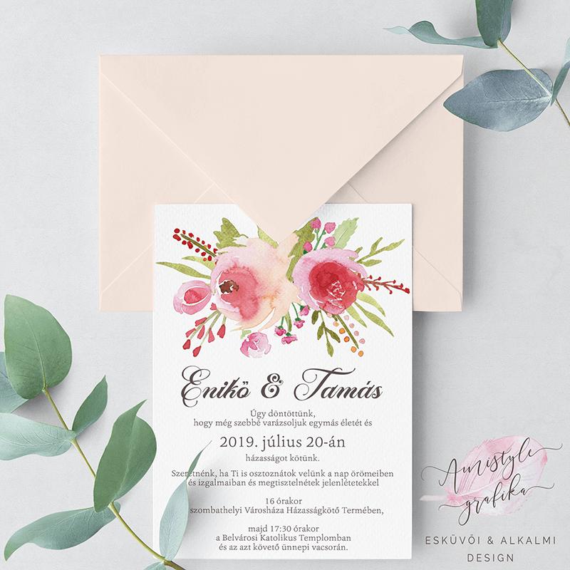 Vintage Rózsás Esküvői Meghívó