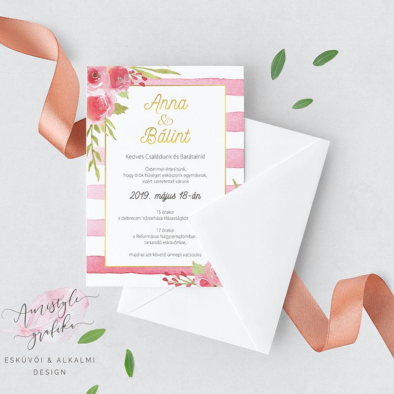 Akvarell Rózsás Csíkos Esküvői Meghívó