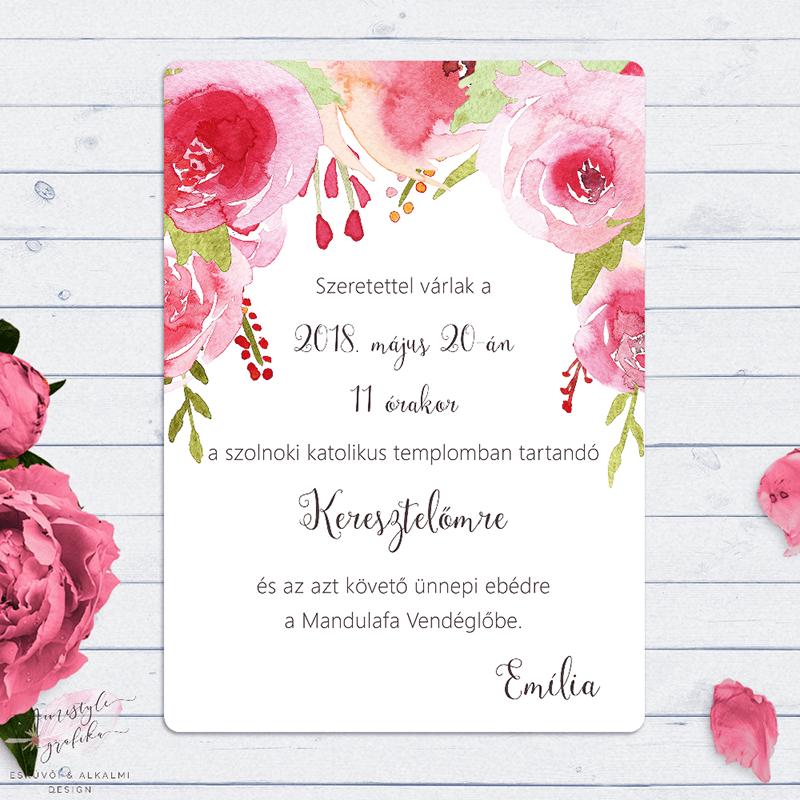 Pink Virágos Kislány Keresztelő Meghívó