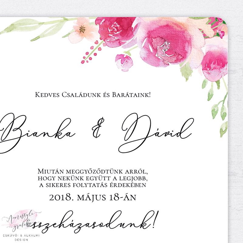 Barack és Pink Virágos Esküvői Meghívó