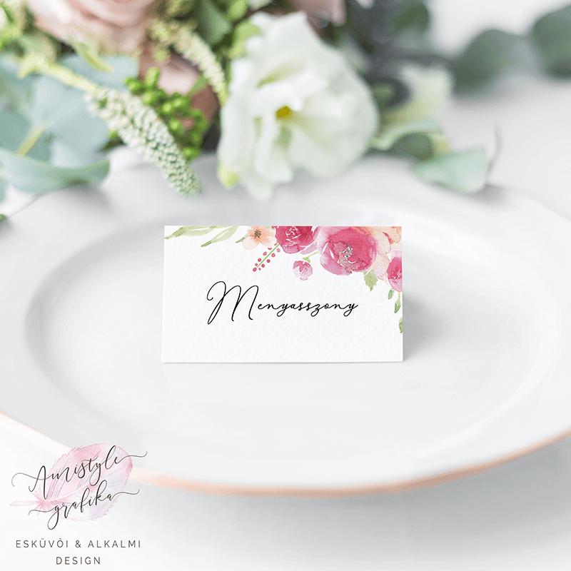 Pink-Barack Akvarell Esküvői Ültetőkártya