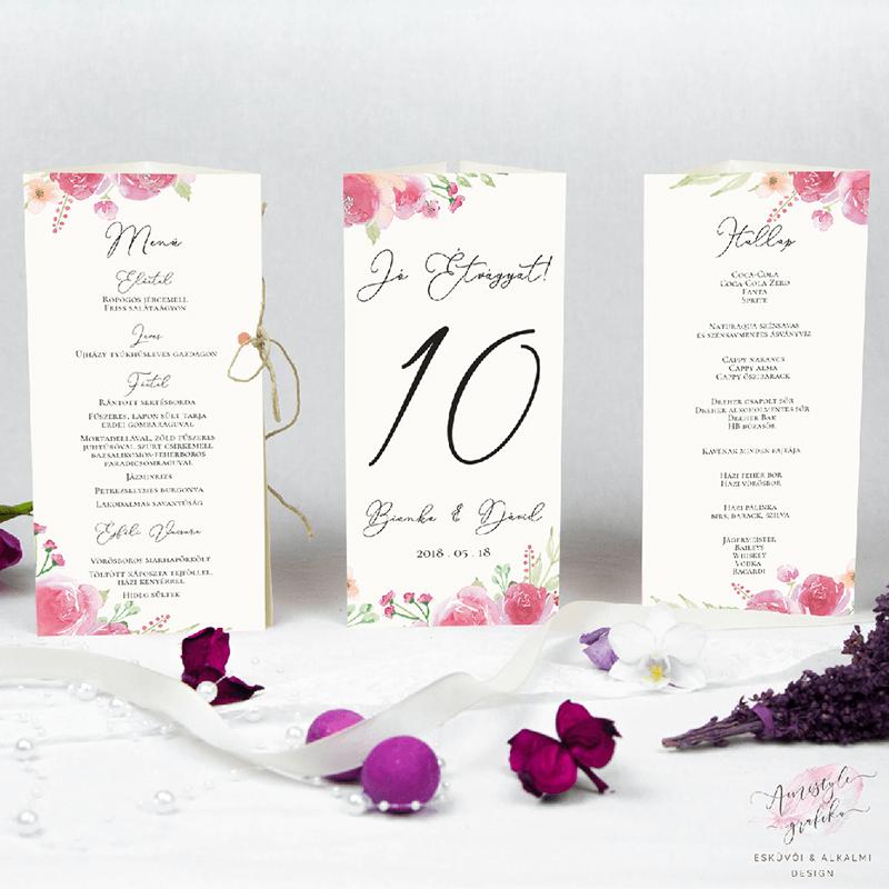 Pink és Barack virágos Álló Esküvői Háromszög Menü