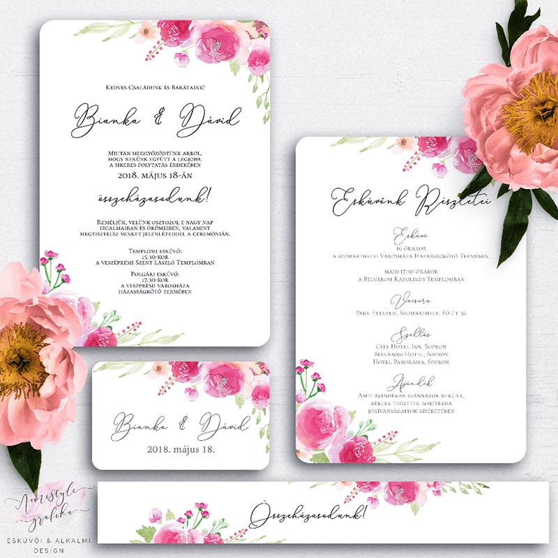 Vízfestékes Virágos Esküvői Meghívó