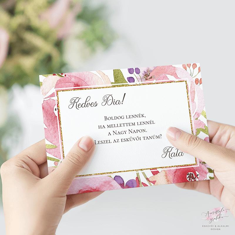 Virágos Hátterű Glitteres Esküvői Tanú Felkérő Lap