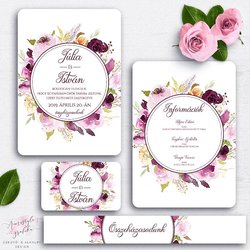 Burgundy Virágkoszorús Esküvői Meghívó Készlet