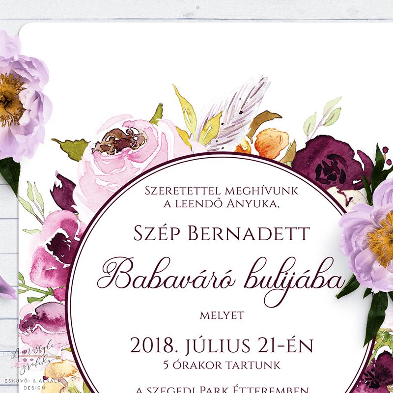 Bordó Virágkoszorús Babaváró Buli Meghívó