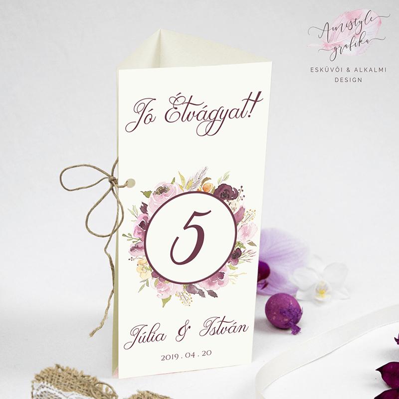 Bordó Virágkoszorús Esküvői Háromszög Menülap