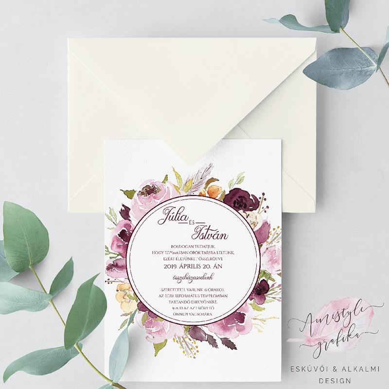 Bordó és Lila Esküvői Meghívó Virágkoszorús Mintával