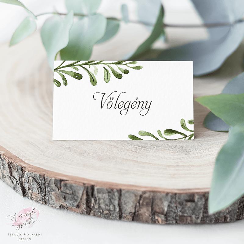 Watercolor Greenery Esküvői Ültetőkártya
