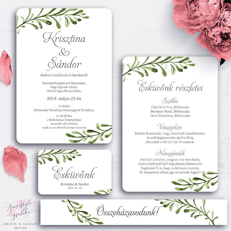 Rusztikus Greenery Esküvői Meghívó Készlet