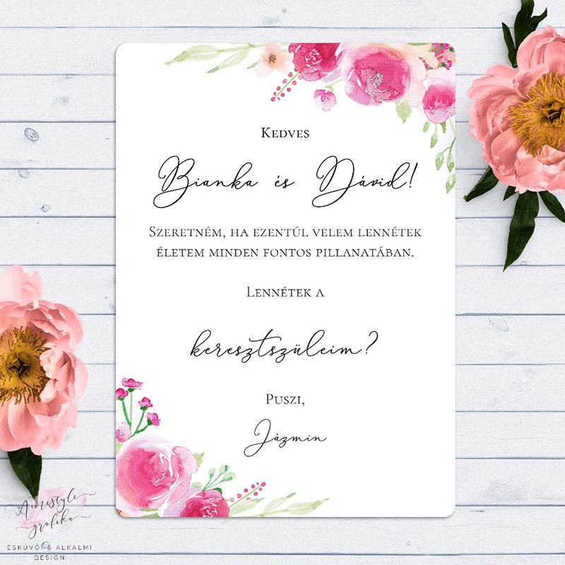 Pink-Barack Virágos Keresztszülő Felkérő Lap