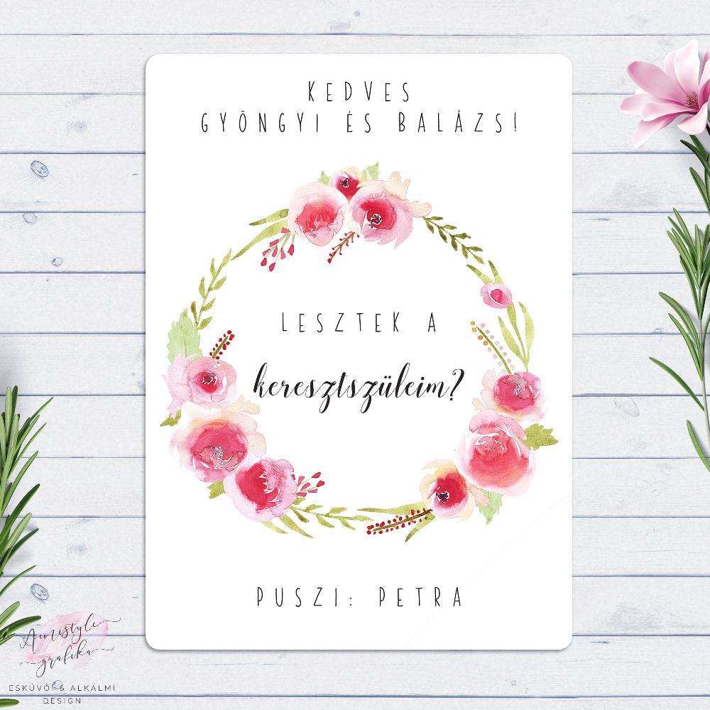 Rózsakert Keresztszülő Felkérő Lap