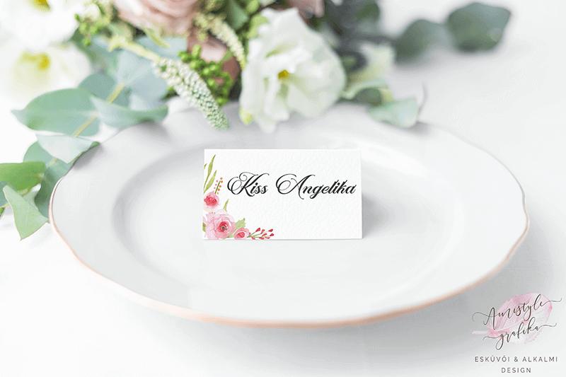 Elegáns Rózsás Esküvői Ültetőkártya