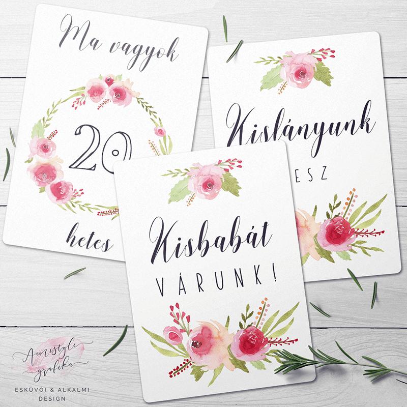 Rózsás Kismama Mérföldkő Kártyák