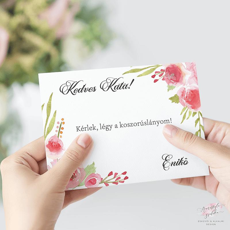 Festett Rózsás Koszorúslány Felkérő Kártya