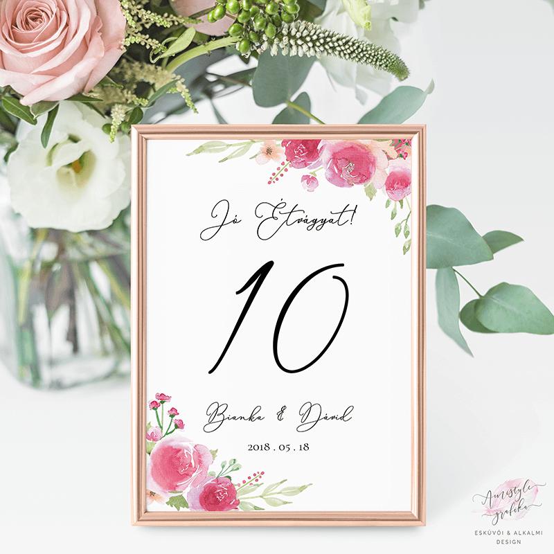 Pink Barack Rózsás Esküvői Asztalszám