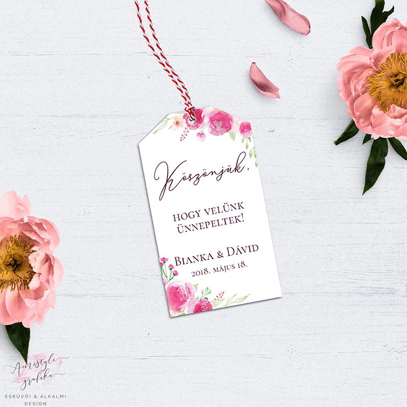 Pink-Barack Virágos Esküvői Köszönőajándék-Kísérő