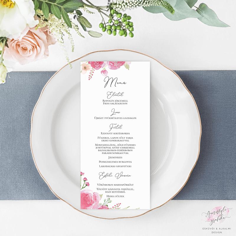 Pink Barack Rózsás Esküvői Menü Kártya