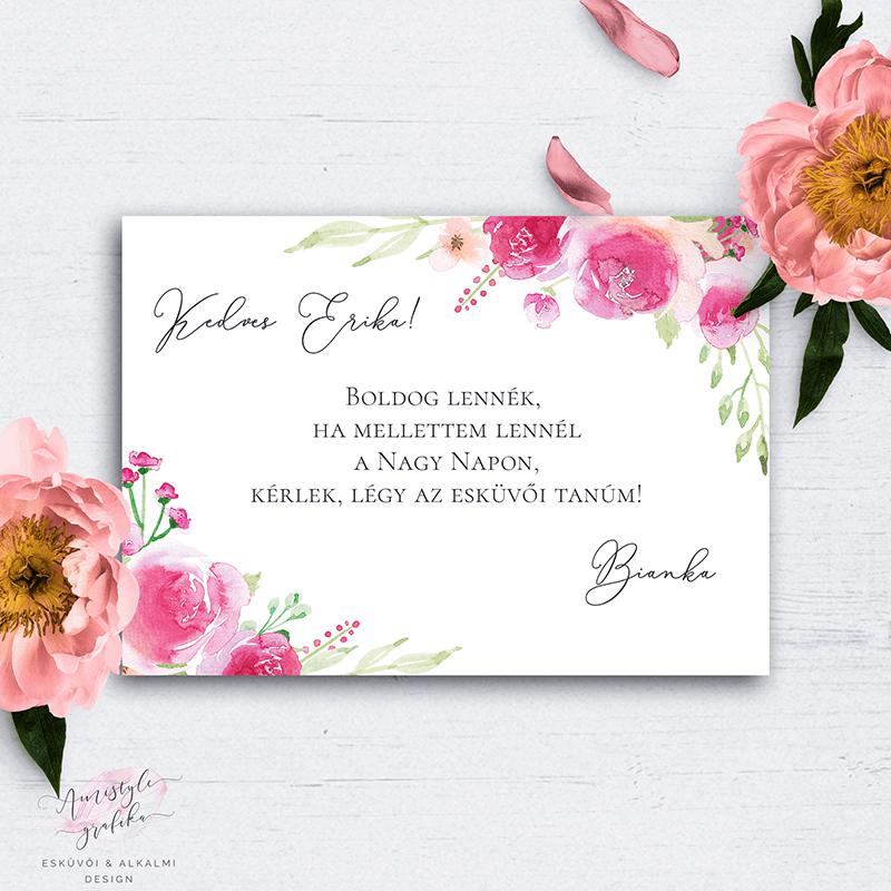 Pink-Barack Virágos Esküvői Tanú Felkérő Kártya