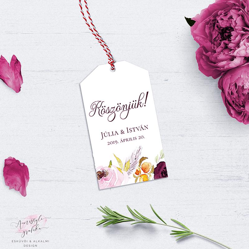Burgundy Virágos Esküvői Köszönetkártya-Ajándékkísérő