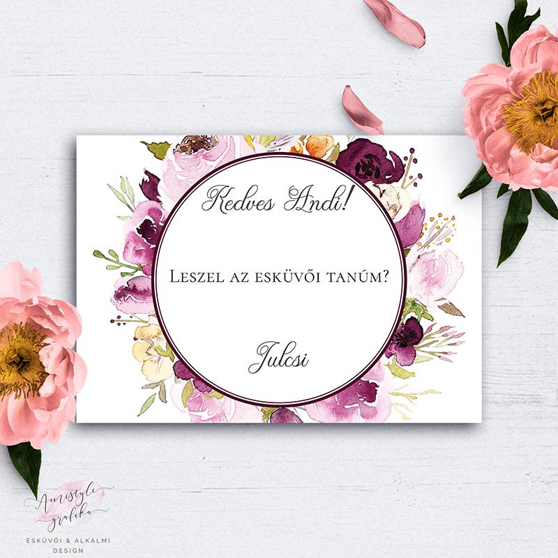 Bordó Virágos Esküvői Tanú Felkérő Kártya