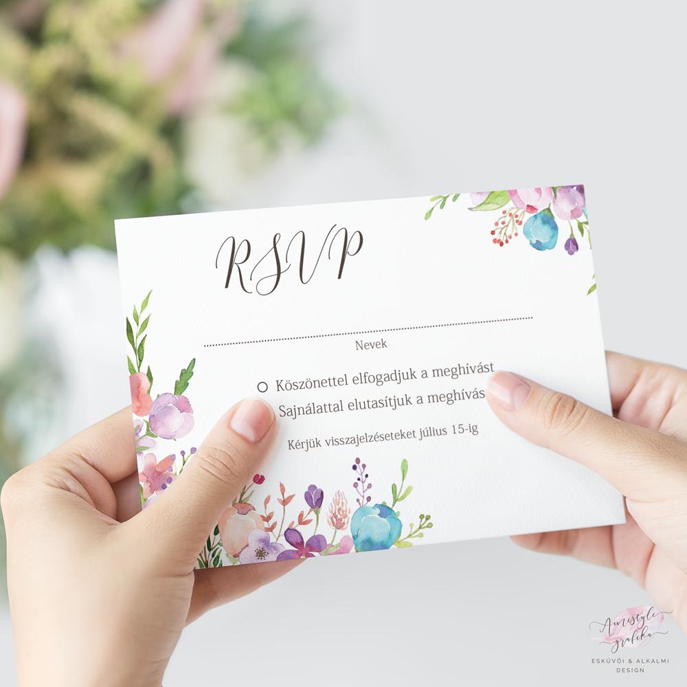 Virágos Esküvői RSVP Válaszkártya