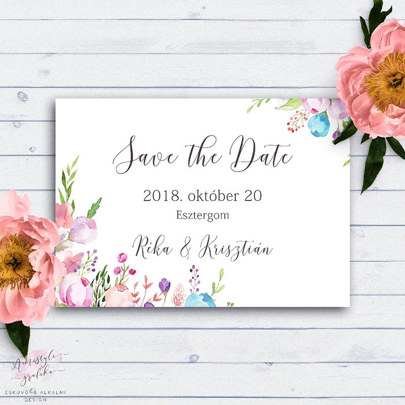 Virágos Esküvői Save the Date Értesítő Kártya