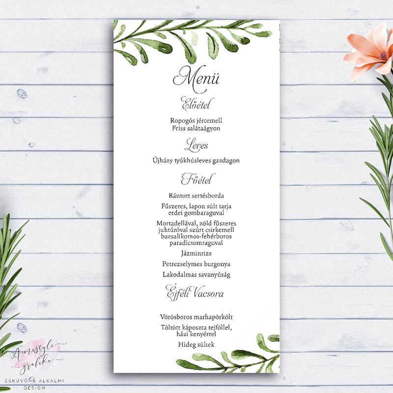 Greenery Esküvői Menü Kártya