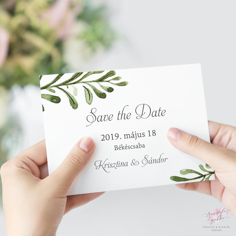 Greenery Esküvői Save the Date Értesítő Kártya
