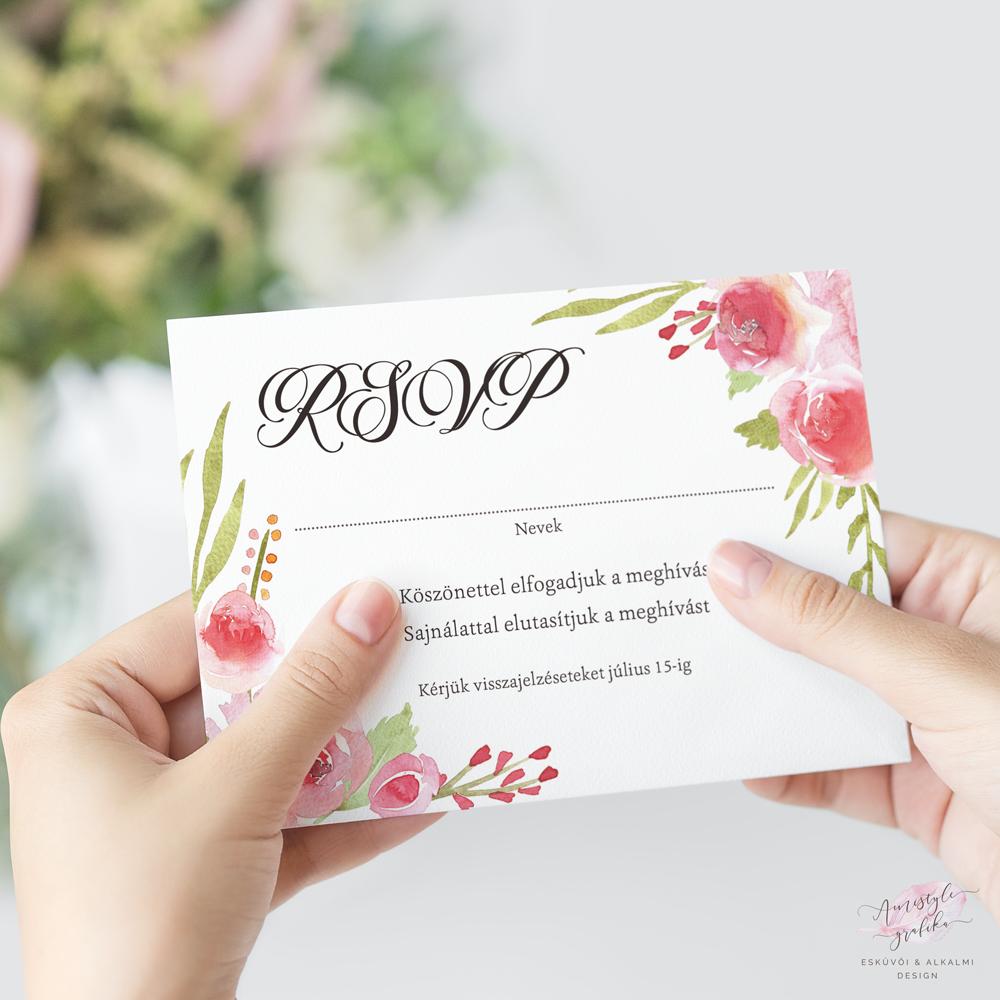 Festett Rózsás Esküvői RSVP Válaszkártya