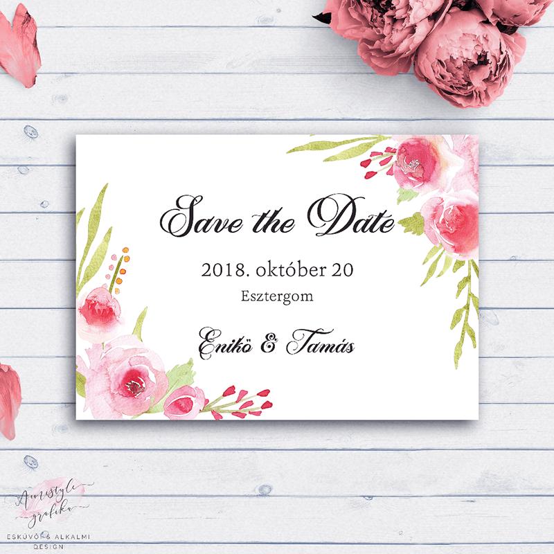 Rózsás Esküvői Save the Date Értesítő Kártya