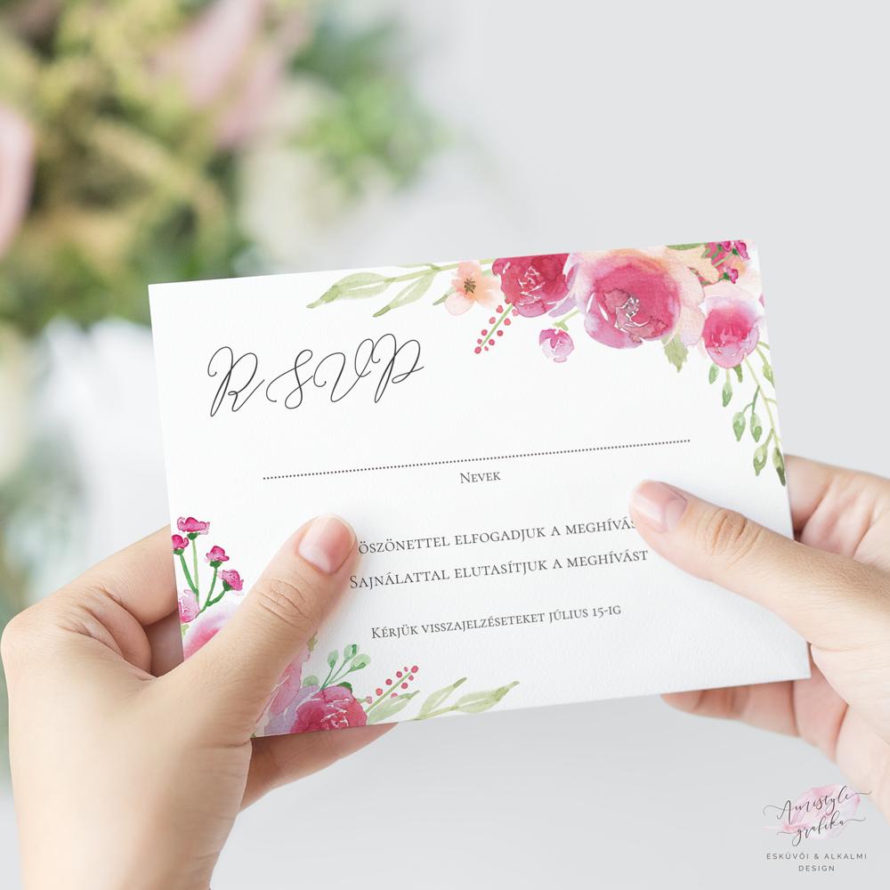 Pink-Barack Akvarell Esküvői RSVP Válaszkártya