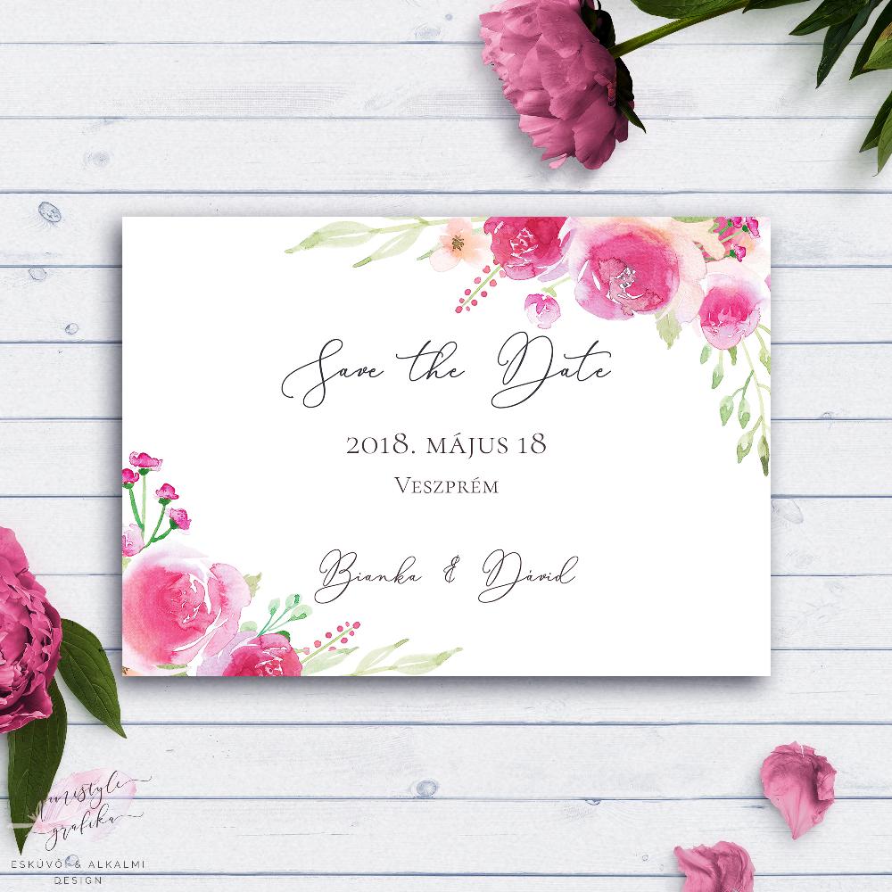 Pink Rózsás Esküvői Save the Date Értesítő Lap