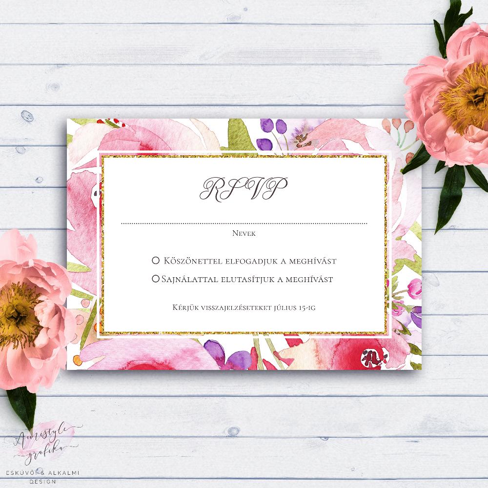 Vízfestékes Virágos Esküvői RSVP Válaszkártya