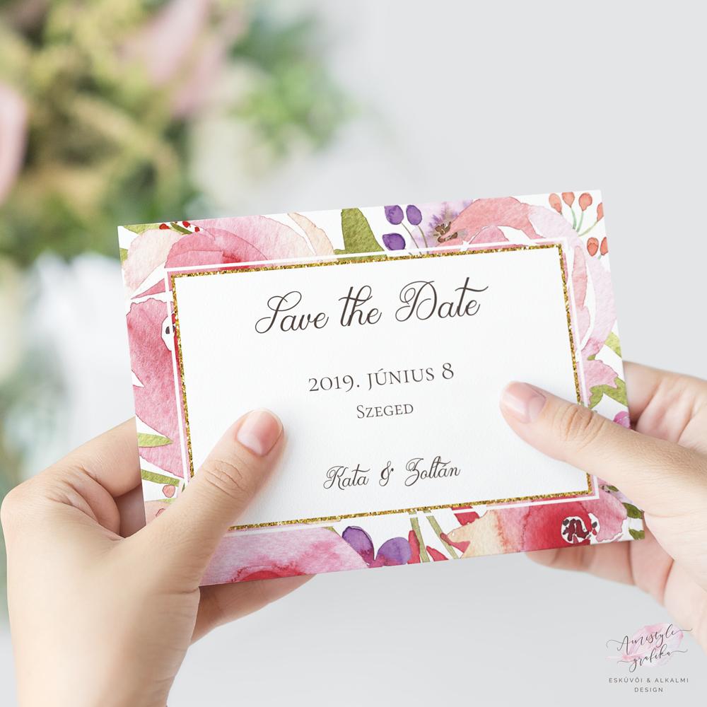 Virágmintás Esküvői Save the Date Értesítő Kártya