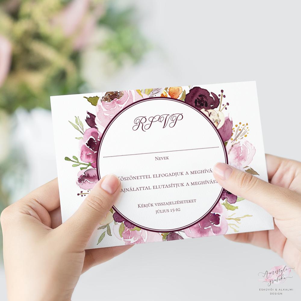 Bordó Akvarell-Virágos Esküvői RSVP Válaszkártya