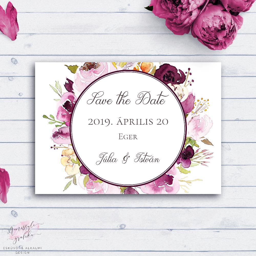 Bordó Virágos Esküvői Save the Date Értesítő Lap