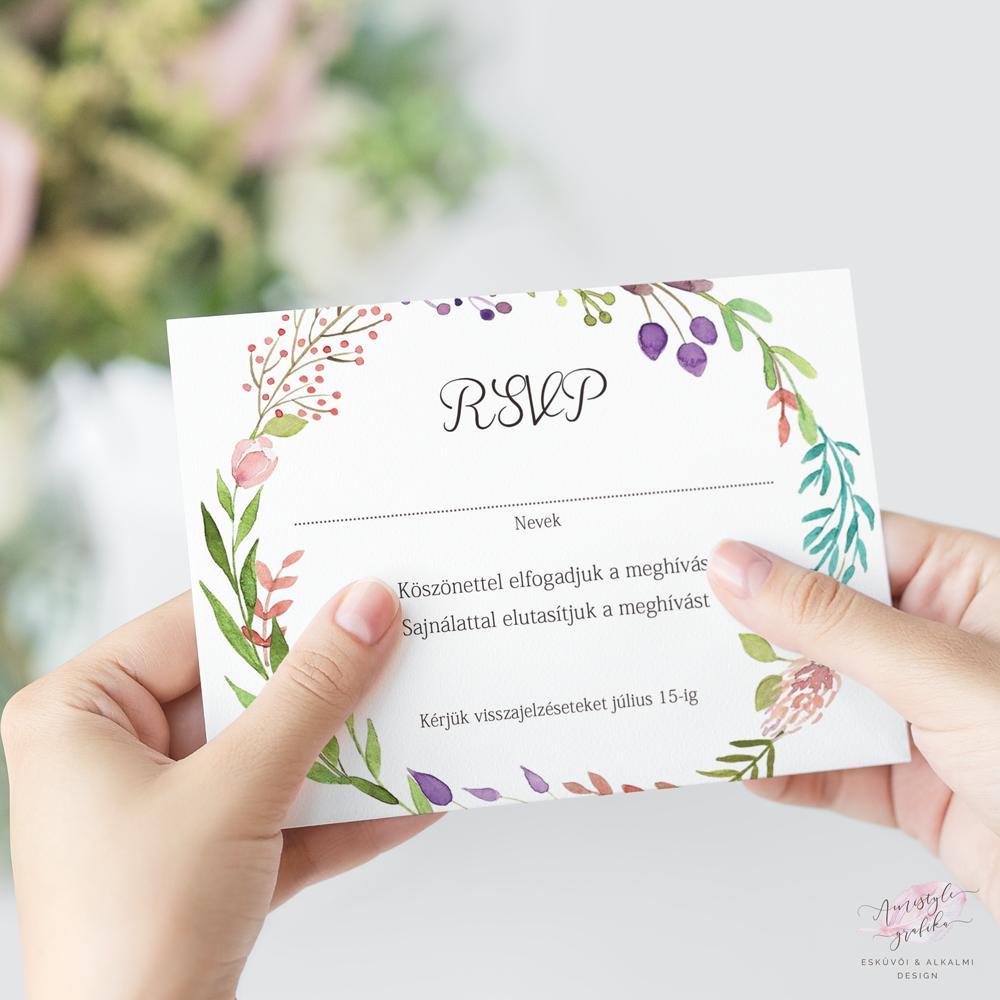 Akvarell Virágos Esküvői RSVP Válaszkártya