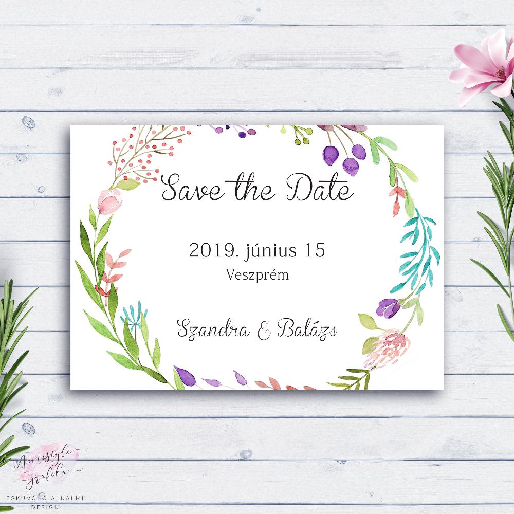 Vadvirágos Esküvői Save the Date Értesítő Lap