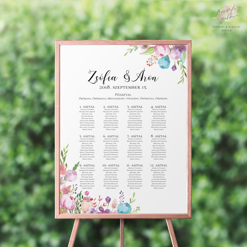 Virágos Esküvői Ültetési Rend