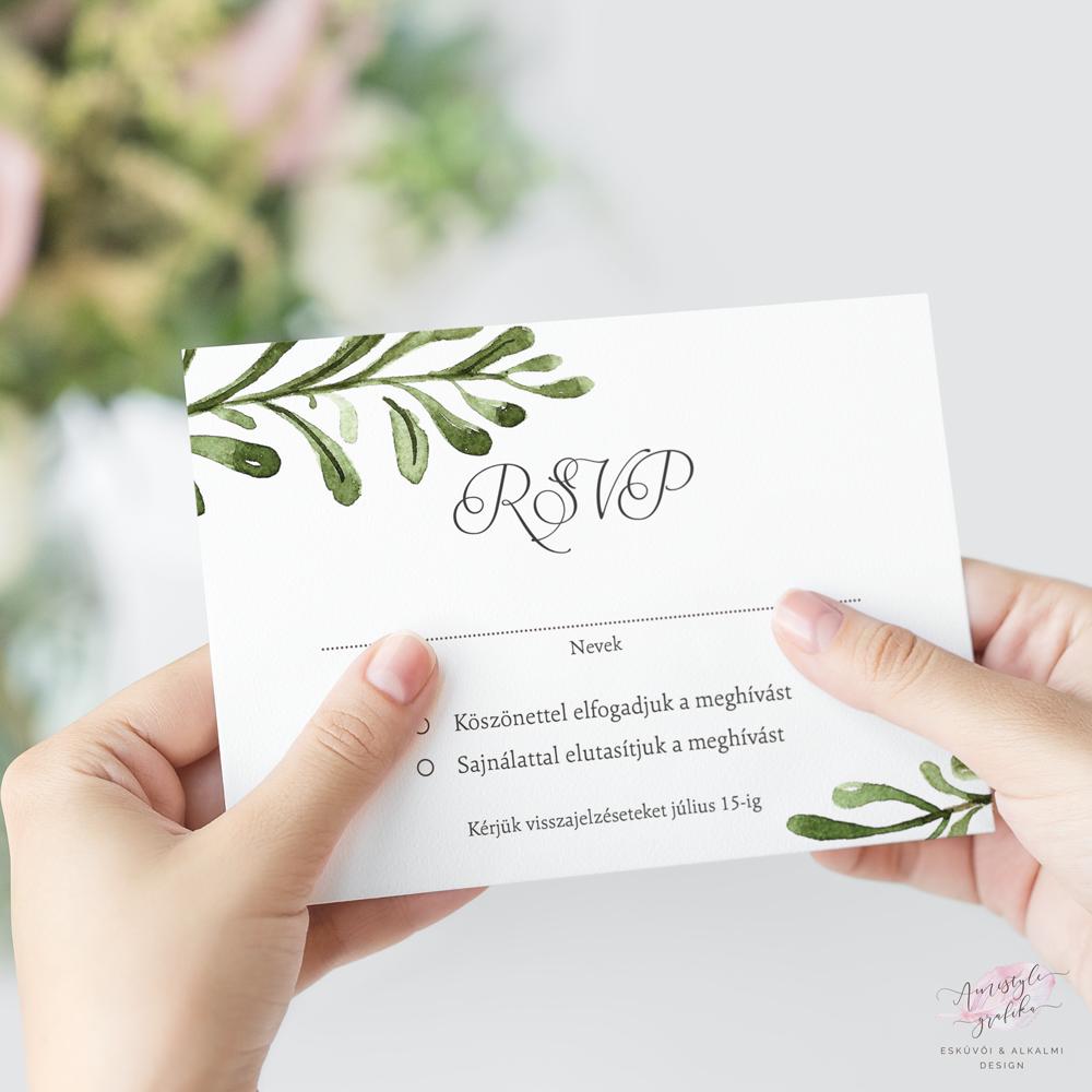 Greenery Esküvői RSVP Válaszkártya